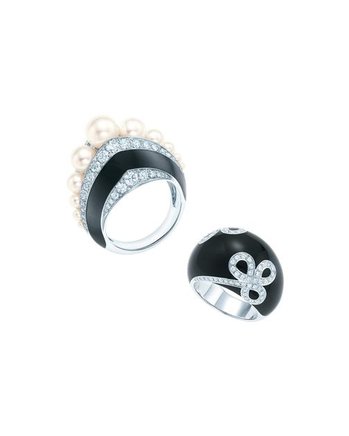 Tiffany & Co.蒂芙尼铂金镶嵌珍珠和钻石戒指