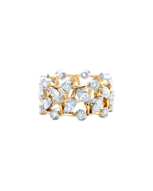 Tiffany & Co. 蒂芙尼Schlumberger系列18K黄金镶钻戒指