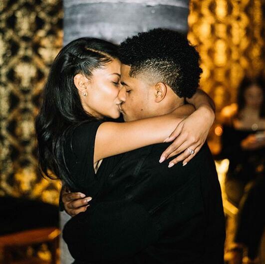 美国超模Chanel Iman和橄榄球运动员男友Sterling Shepard订婚