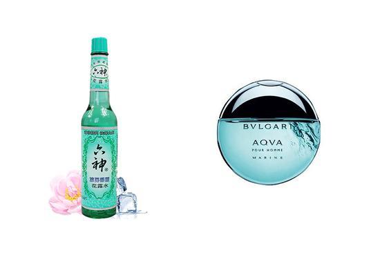 六神冰芬香型(左)宝格丽海洋男士香水(右)