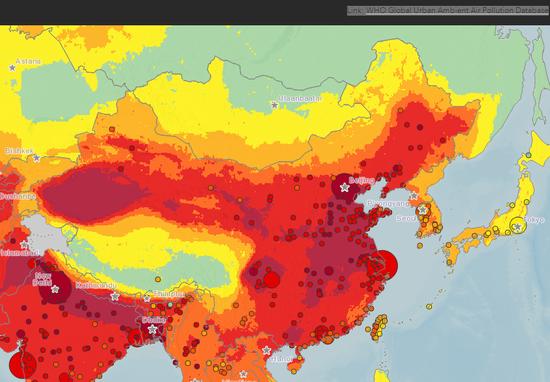 大气污染地图 来源:世界卫生组织官网