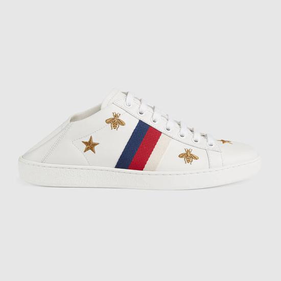 Gucci蜜蜂和星星运动鞋可折叠当拖鞋