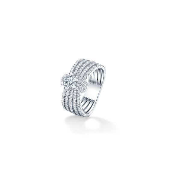 Forevermark Millemoi拥幻系列钻石戒指18K白金总重1.24克拉