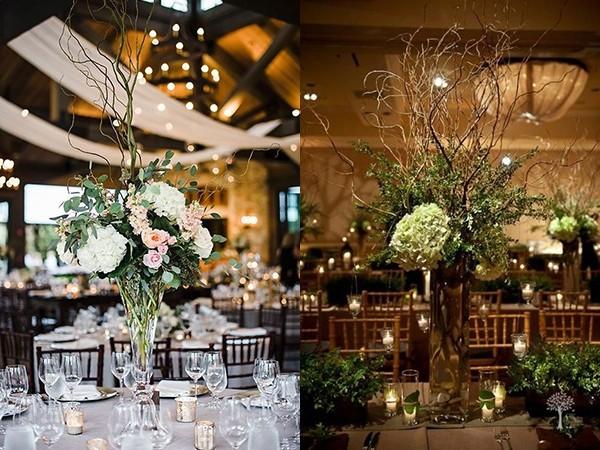 透明花瓶+枯枝+鲜花+绿叶