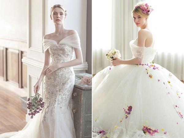 婚纱款式不知道怎么选?不如来一款经典浪漫的一字领