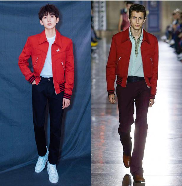 王源身穿Givenchy 2018春夏红色夹克