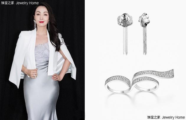 YUE XUE 雕塑感花蕊流苏耳夹、HEFANG Jewelry 彩带戒指