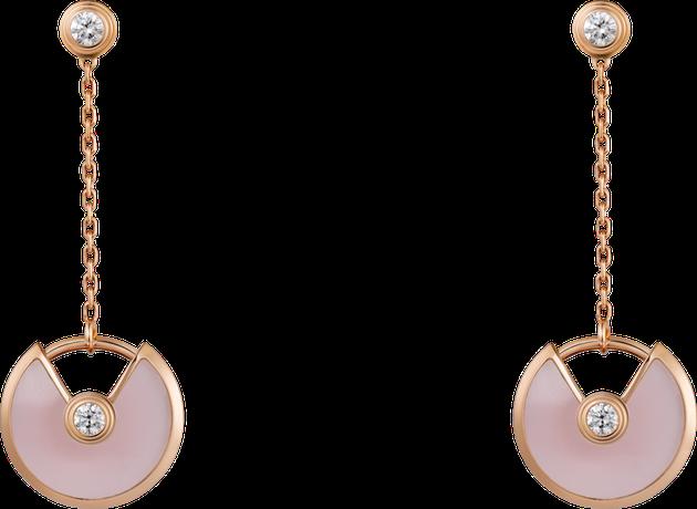 卡地亚AMULETTE DE CARTIER耳环,超小号款,18K玫瑰金,粉色欧泊,钻石 ,售价37450元