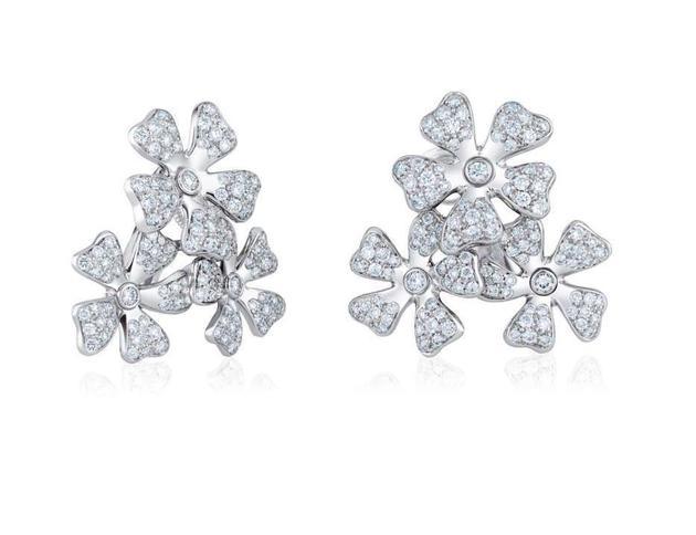 DeBeers戴比尔斯Wildflowers三花簇钻石耳环