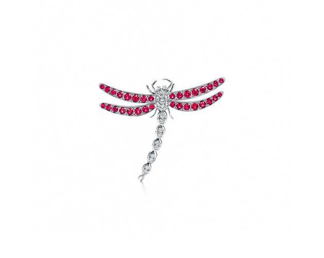Tiffany & Co. 蒂芙尼Enchant系列铂金镶嵌红宝石和钻石中号蜻蜓胸针