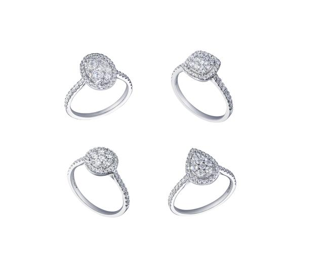 18K白色黄金配镶白色钻石戒指