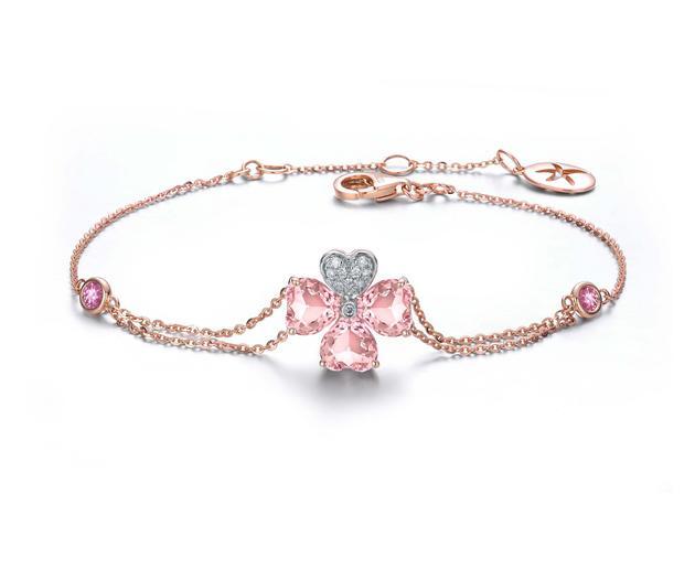 ENZO Clover四叶草系列_18K玫瑰金镶摩根石钻石手链