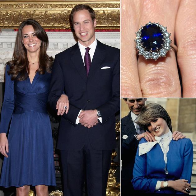 凯特王妃继承了戴安娜王妃的蓝宝石钻石订婚戒指