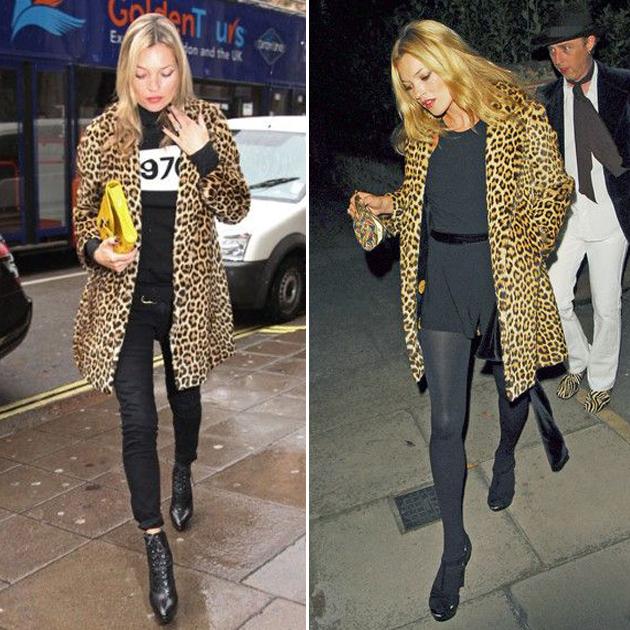 Kate Moss穿豹纹大衣街拍
