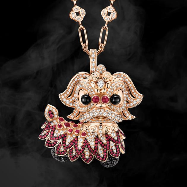 Xi Xi 18K 玫瑰金、钻石、黑钻石、红宝石及玛瑙吊坠
