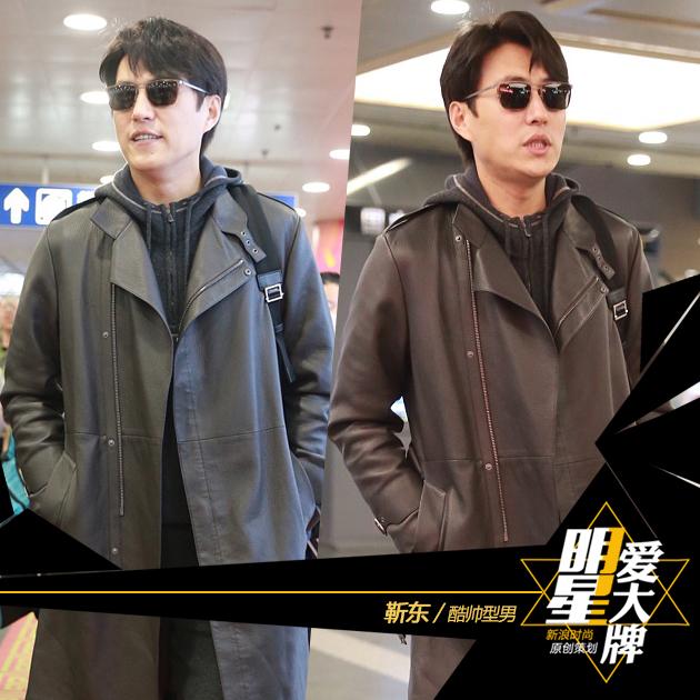 靳东酷帅造型现身机场 老干部专宠小白鞋