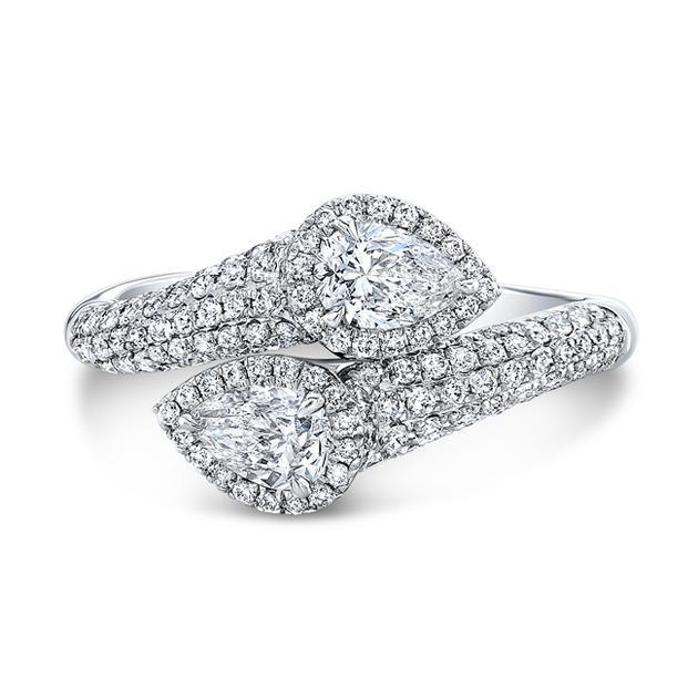 Natalie K 18K白金镶钻戒指,总重1.36克拉