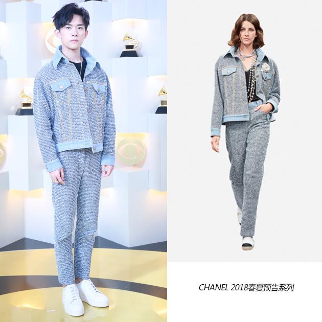 易烊千玺身着Chanel 2018春夏系列斜纹软呢外套和长裤