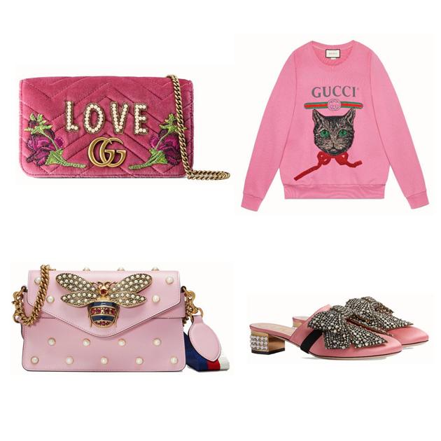 Gucci新品中适合送礼的粉色系单品