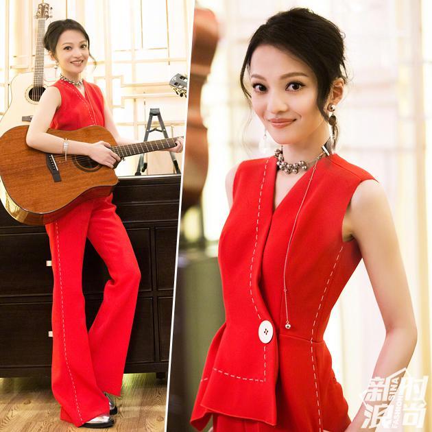 张韶涵的红色裤装搭配