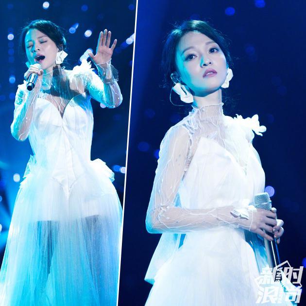 张韶涵穿蕾丝裙造型