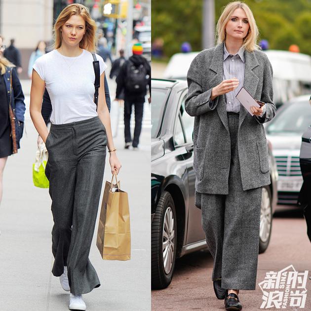 时装精示范高级灰的阔腿裤