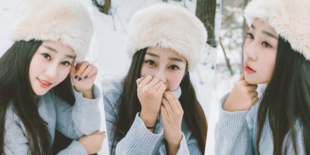 雪地里白嫩如霜的美女