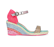 Sophia Webster帆布坡跟麻底鞋