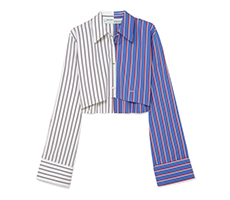 Off-White 条纹纯棉府绸短款衬衫