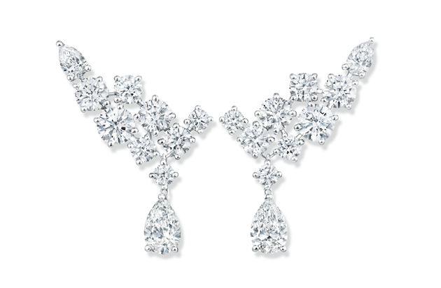 海瑞温斯顿绚漪锦簇Sparkling Cluster系列钻石耳环