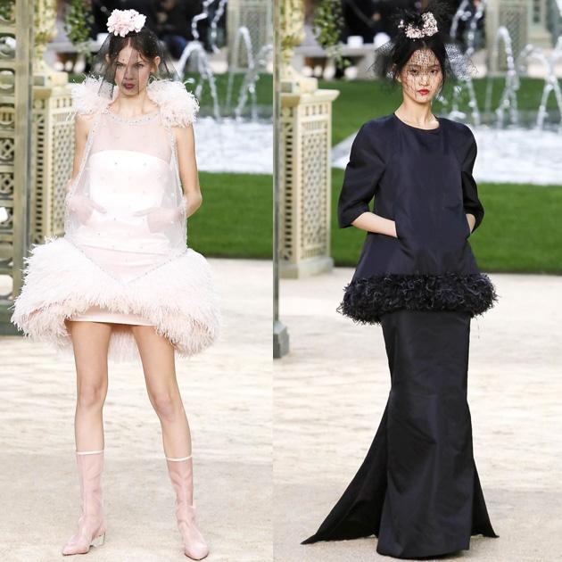Chanel 2018春夏高级定制系列中缎面+羽毛