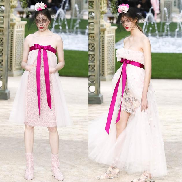 Chanel 2018春夏高级定制系列中飘逸的缎带纱裙