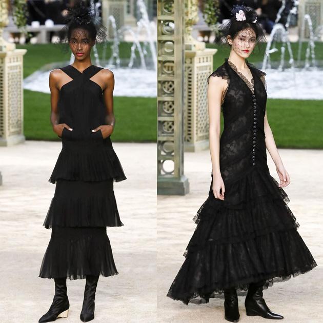 Chanel 2018春夏高级定制系列中妩媚的黑纱裙