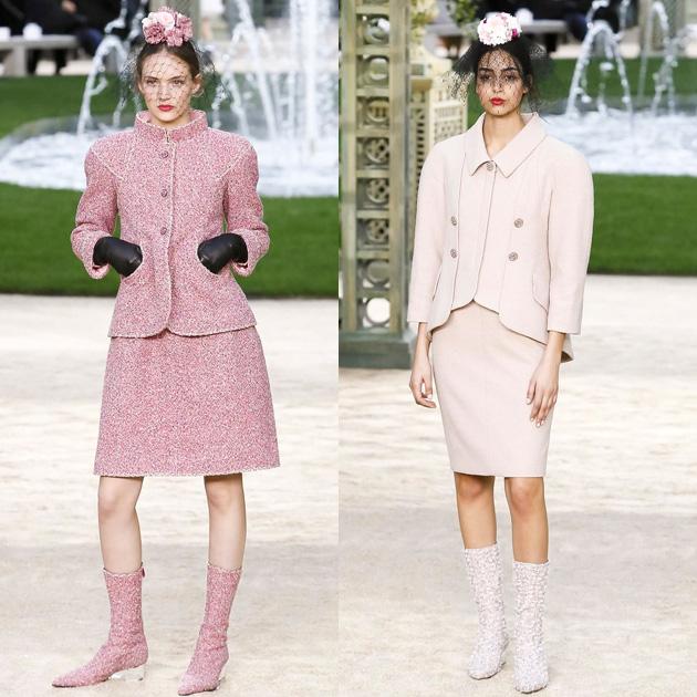 Chanel 2018春夏高级定制系列粉嫩的软呢套装