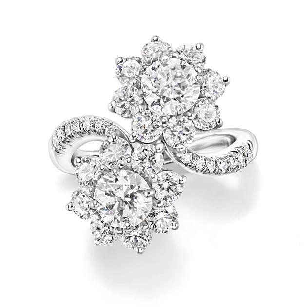海瑞温斯顿向阳花卉Sunflower系列Twin钻石戒指