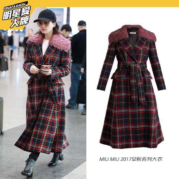 刘诗诗的格纹大衣