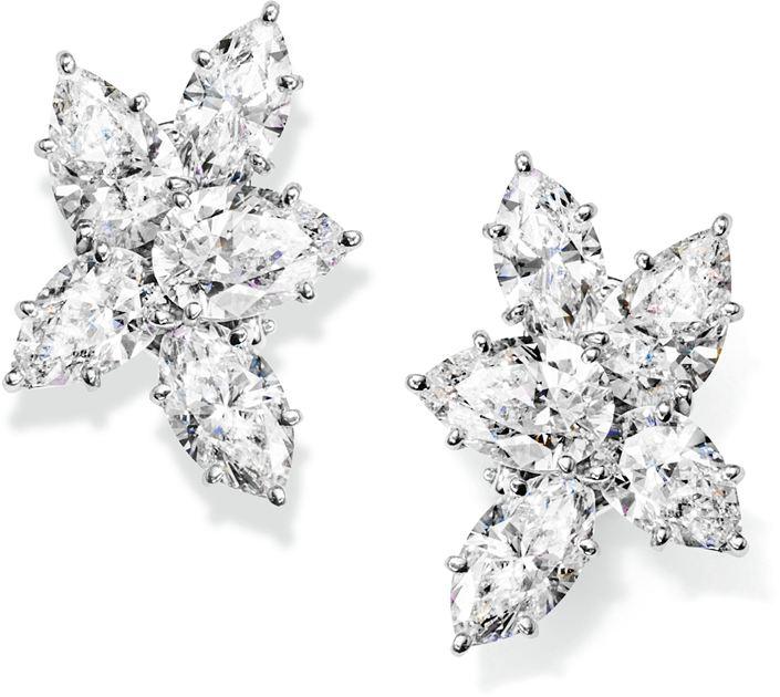海瑞温斯顿经典锦簇Winston Cluster系列钻石耳环
