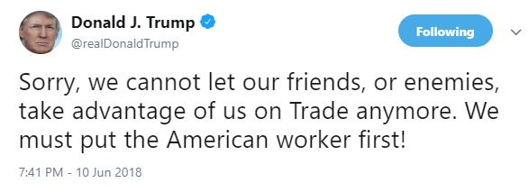 """美国总统特朗普发布推文称,""""很抱歉,我们不能再让盟友或敌人在贸易上占我们便宜了。我们必须以美国工人为先!""""(来源:Twitter)"""
