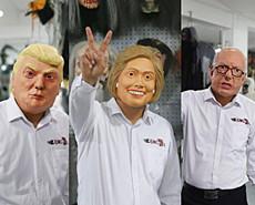 美国大选中国商人做竞选人面具发财