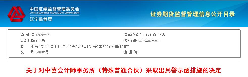 中喜会所审计联美控股年报存多项违规 被出具警示函