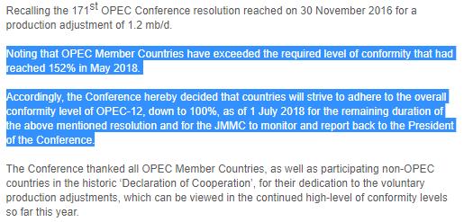 6月22日,OPEC维也纳会议总结中与增产相关的内容(来源:OPEC,新浪财经整理)