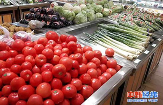 超市货架上的蔬菜。 中新经纬 张义华摄