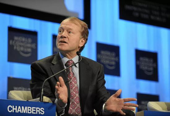 思科首席执行官约翰·钱伯斯2010年在达沃斯。
