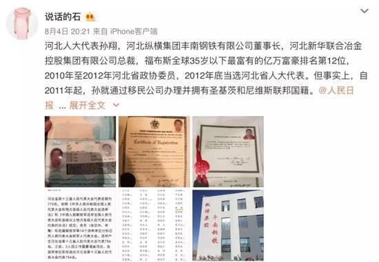 80后百亿总裁孙翔被曝双重国籍 人大代表职务被罢免