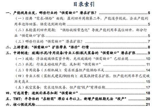 """广发策略:哪些行业的""""供需缺口""""潜在扩张?"""
