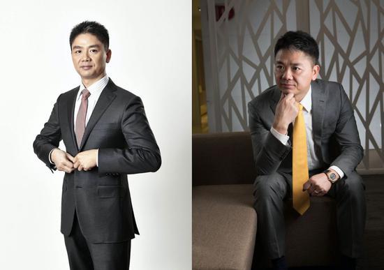 (左)2014年,刘强东的穿衣风格有了质的飞跃。来源:被访者供图(右)2016年,京东集团搬到亦庄。摄影:邓攀