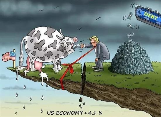 """▲【川普用债务来喂""""奶牛""""】美国总统川普用债务来喂奶牛,刺激经济增长。美国第二季度国内生产总值增速为4.1%,但专家警告,在债务高企和贸易战的影响下,经济增长难以为继。(美国卡格尔漫画网)"""