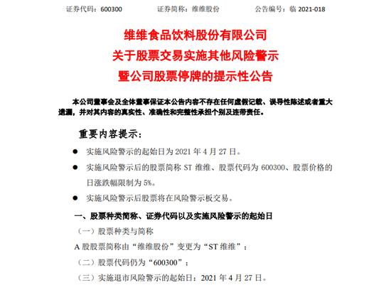 """净利大增497.5%却被闪电""""ST"""" 维维股份缘何突然""""爆雷""""?"""