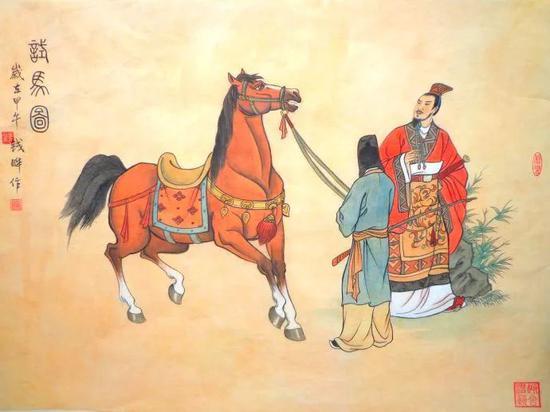 漢武帝試馬圖(錢曄画)