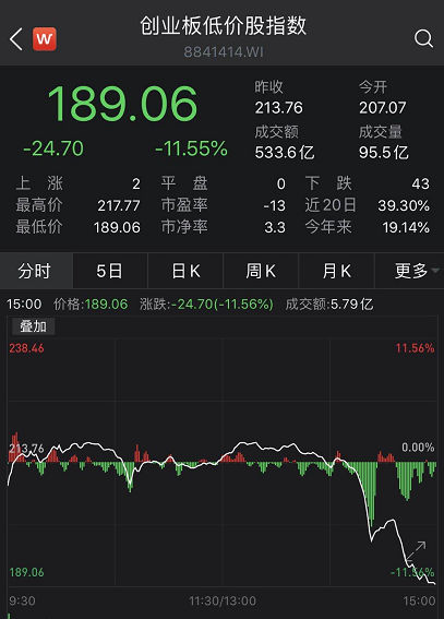 创业板低价股集体崩了:1个小时暴跌超11% 后市怎么看?